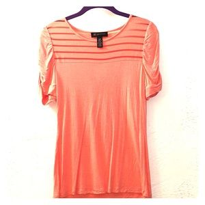 Peach petites shirt with ruched sleeves